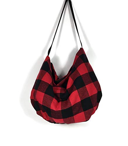 Red and Black Buffalo Check Plaid Handbag Buffalo Check Hobo Bag Buffalo Plaid Flannel Shoulder Bag Lumberjack Hobo Purse Buffalo Check Pouch