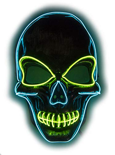Fadory Mens Light Up LED Scary Death Skull Mask for Halloween