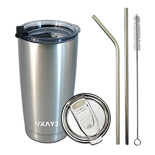 Vkayj 20oz Travel Mugs Tumblers Double 304 Stainless Steel Wall Vacuum Insulated Tumbler with Lids and Straw Travel Mug Coffee Beer Wine Juice Water Cup 20 OZ Large Capacity (Silver) (Mug With Straw Juice)