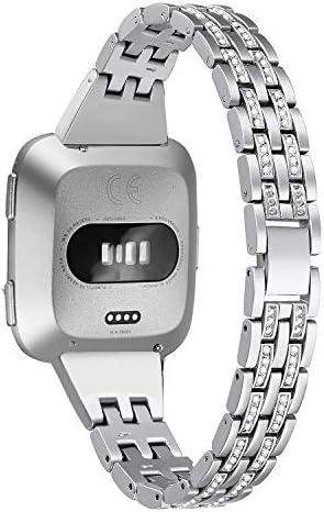 Fitbit VersaVersa 2Versa Lite Smartwatch와 호환되는 Bayite 슬림 블링 밴드 여성용 / Fitbit VersaVersa 2Versa Lite Smartwatch와 호환되는 Bayite 슬림 블링 밴드 여성용