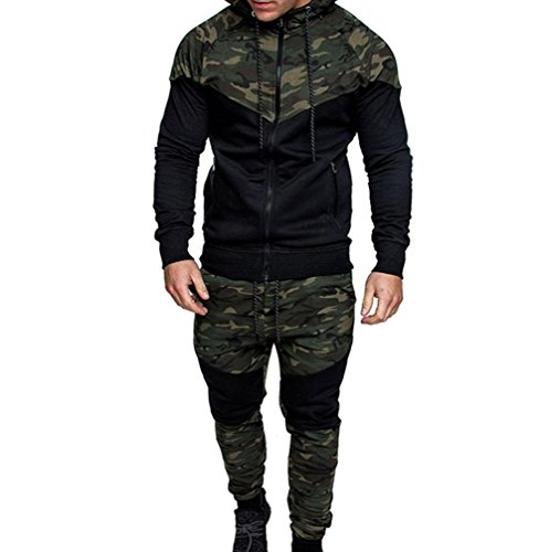 Mens Long Sleeve Camo Hoodies Sweatshirt + Tracksuit Long Pants 2Pcs Sets with Pockets (XX-Large, ()