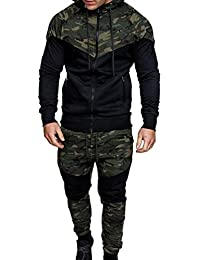 2c7cfaceea6f Mens Long Sleeve Camo Hoodies Sweatshirt + Tracksuit Long Pants 2Pcs Sets  with Pockets