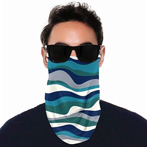 フェイスカバー Uvカット ネックガード 冷感 夏用 日焼け防止 飛沫防止 耳かけタイプ レディース メンズ Cordillera Stripe Teal Navy