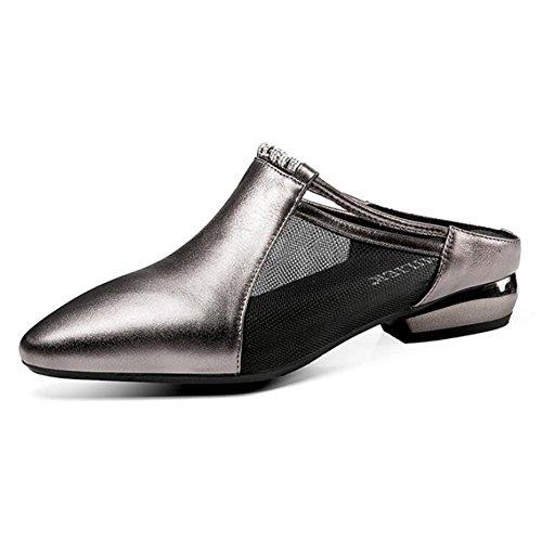 Baotou zapatillas zapatilla EU40 UK6 exterior de Hembra 5 colores 2 zapato Ropa Hilo Media de Moda Zapatos Color Negro talón Altura CN40 moda verano LIXIONG red color Tamaño Ocio 3 5cm Gun del 250 PdpyfPB