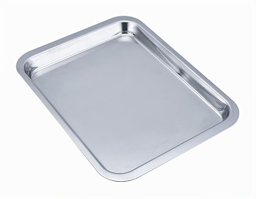 LIANYU Toaster Oven Tray Pan, Stainless Steel Small Baking Pan, Non Toxic & Healthy, Mirror Polish & Easy Clean, 8.2 x 11.2 x 0.7 inch - Dishwasher Safe