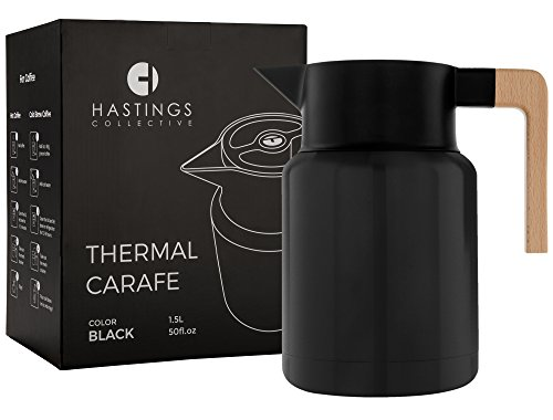 Large Thermal Coffee Carafe - Stainless Steel, Double Walled Thermal Pots For Coffee and Teas by Hastings Collective - Black, Vacuum Carafes With Removable Tea Infuser and Strainer | 50 Fl Oz. by Hastings Collective (Image #2)