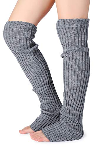- Pareberry Women's Winter Over Knee High Footless Socks Knit Warm Long Leg Warmers (Grey), Medium