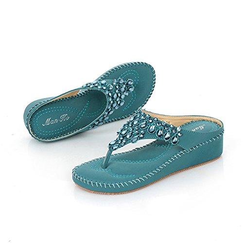 Dophingirl Femmes Été Wedge Sandales Confortable Strass Chaîne String Pantoufle Chaussures Prime Jx00006 Bleu
