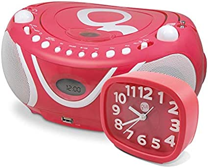METRONIC 477294 Ensemble Gulli Rose Radio CD MP3 avec Port USB et réveil Rose