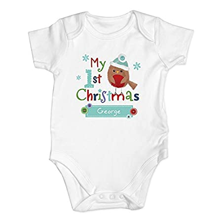 Personalised my first christmas vest baby grow cute robin design personalised my first christmas vest baby grow cute robin design gift ideas for negle Images