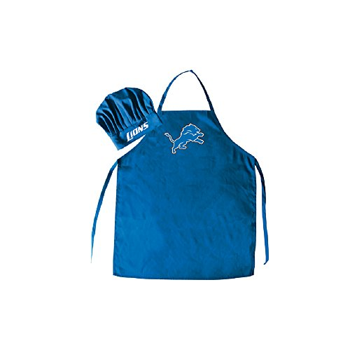 Men's Chef Hat & Apron - NFL - Detroit Lions - Team Logo BBQ Barbeque Cook Grill Home Tailgating ()