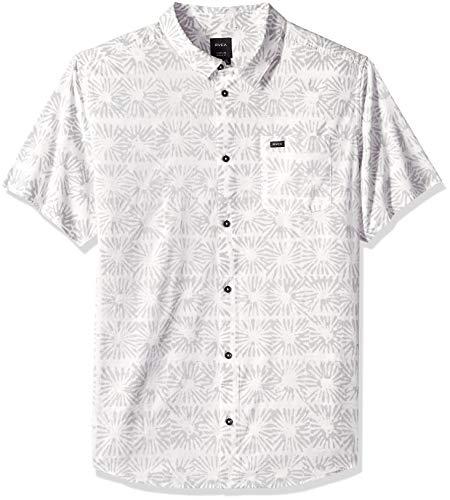 RVCA Men's Flower Block Sleeve Woven Button Down Shirt, White, XXL