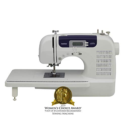 Brother Sewing and Quilting Machine, CS6000i, 60 Built-In Stitches, 7 styles of 1-Step Auto-Size Buttonholes, Wide Table, Hard Cover, LCD Display and Auto Needle Threader from Brother