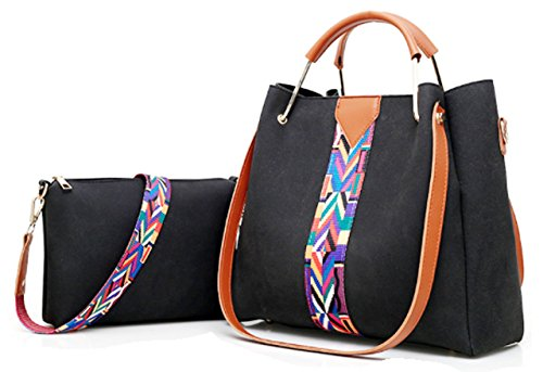 Black Purse Print Zzfab Hobo Set Douple Cross Single Suede Body amp; Strap Bag Bag with Aztec Strip pqa5CnFa