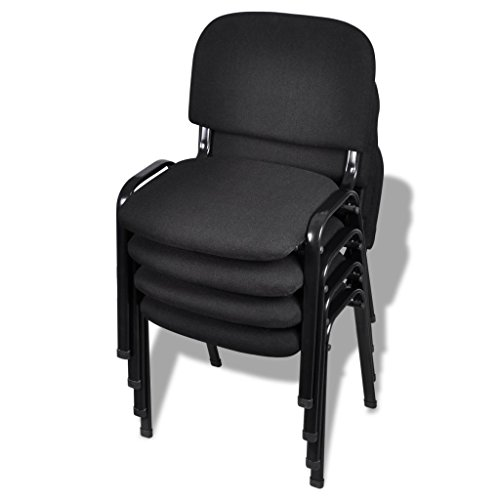 vidaXL 4 x Konferenzstuhl Bürostuhl schwarz