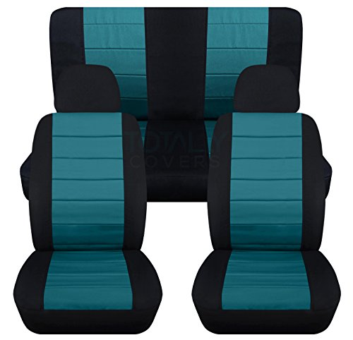 2-Tone Car Seat Covers w 2 Front Headrest Covers: Black and Teal - Universal Fit - Full Set - Front Buckets & Rear Bench - Option for Airbag/Seat Belt/Armrest/Release/Lever/Split ()
