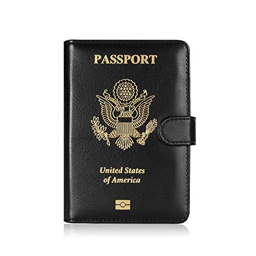 Maxjoy PU Leather Passport Holder Cover - RFID Blocking Travel Passport Wallet Card Organizer passport case, Black