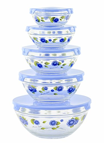 (Imperial 5 Pcs Glass Nested Dipping or Storage Bowls with Blue Lids and Blue Flower Design)