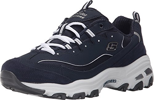 Foam Time (Skechers Sport Women's D'Lites Memory Foam Lace-up Sneaker,Me Time Navy/White,11 M US)