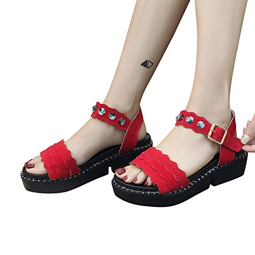 Talon Antideslizante Goma Impermeable Mujer Calzado Plataforma Zapatos Hueco Impermeables Botas POLP Lluvia Casual Calzado Botas Tobillo Casual La Plano en de Bota Rojo Agua de CqwC6I