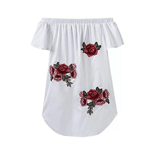 Mujeres Vestido Blanco XINGMU Mini Rosa Bordado Visten ZpywCqSdCA