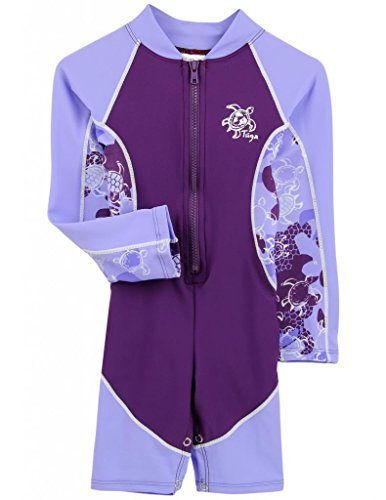 Tuga Girls High Tide L/S Swimsuit (UPF 50+), Lavender, 4/5 yrs