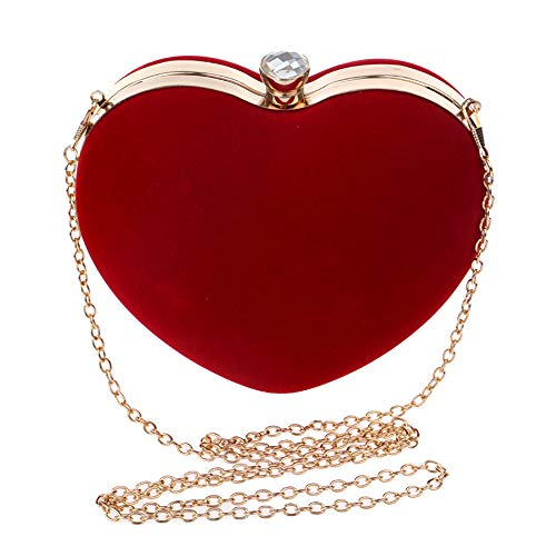 Woman Red Party Red Techecho Suede Shaped Shoulder Hand Purse Handbag Diagonally Bridal Evening Frosted Clutch Bag Heart Shoulder Color TtZqnUt8