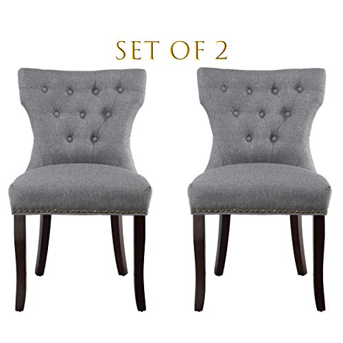 Set of 2 Dining Chairs Accent Chairs of Soft Fabric with Solid Wooden Legs(Gray) (Chairs Accent Dining)