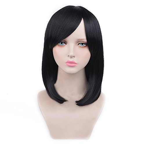 [SiYi Bob Wig with Bangs Straight Synthetic Black Wig Heat Resistant Cosplay Pastel Full Wig for Women] (Best Womens Comic Con Costumes)