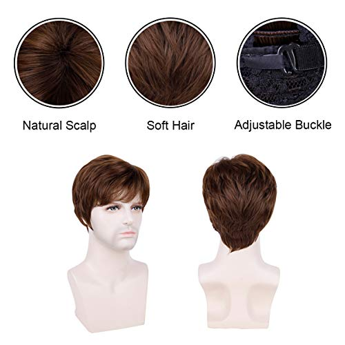 Creamily Mens Synthetic Short Wig Layered Auburn Brown Full Replacement Hair Male Daily Wear Halloween Cosplay Costume Wigs