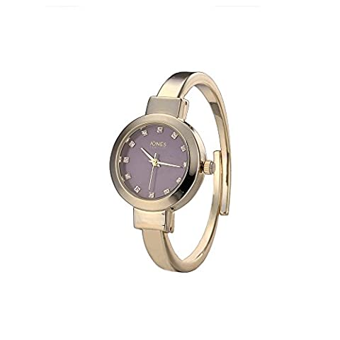 Jones New York Ladies Analog Quartz Stainless Steel Gold Navy Crystals Bangle Bracelet Wrist Watch - Navy Water Resistant Bracelet