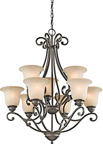 Kichler 43226OZ Camerena Large Chandelier Lighting, Olde Bronze 9-Light (30″ W x 35″ H) 900 Watts