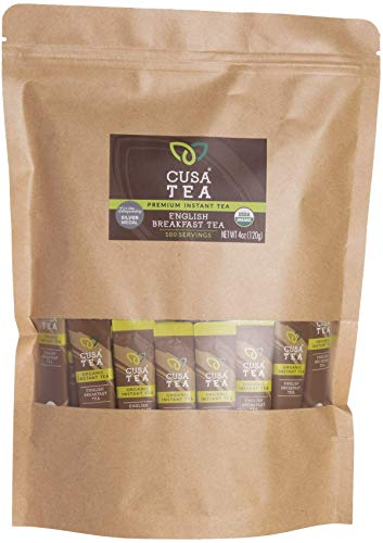 Cusa Tea: Premium Instant Tea - Organic Tea and Real Fruit and Spices - No Sugar or Artificial Flavors - Ready in Seconds - Hot or Iced Tea - English Breakfast 100 Servings from Cusa Tea