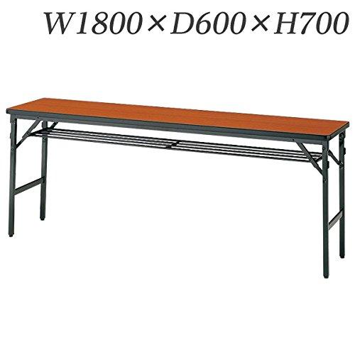 生興 テーブル 折りたたみ会議テーブル ワイドフレーム(MT型) 棚付 W1800×D600×H700/脚間L1705 MT-2060WT ローズ B015XOKPYS ローズ ローズ