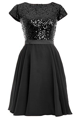 Sequin Schwarz Formal Short Cap Women MACloth Gown Dress Sleeve Chiffon Party Birdesmaid Pw4t8qF