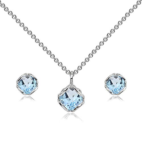 Blue Topaz Solitaire Pendant - Sterling Silver Blue Topaz 6mm Round Solitaire Stud Earrings & Pendant Necklace Set