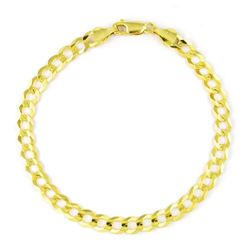 (14k Yellow Gold Solid 6mm Cuban Curb Chain Bracelet, 8