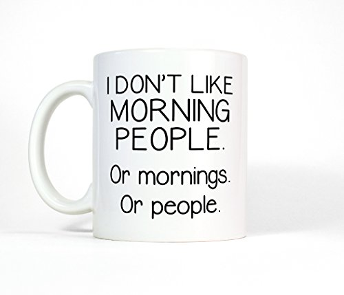I Don't Like Morning People or Mornings or People Ceramic Coffee Mug, Funny Grumpy Coffee Cup, Not a Morning Person Quote (15oz)
