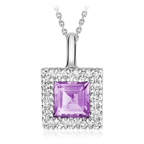 Jewels by Erika 10K Gold Natural Diamond and Princess cut Amethyst Pendant (0.08TDW H-I Color,I1 Clarity) 18