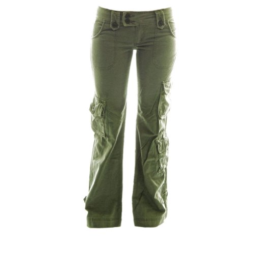 Molecule Women's Himalayan Hipsters Low Rise Flared Green Cargo Pants | USA 6/S (Tag L) Field Green