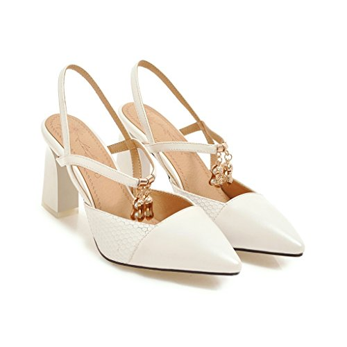 Tip versatile high with sandals white color spell and shoes thick Baotou heeled female rq4wnrY