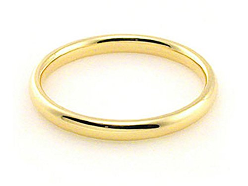 Men's & Women's 18k Yellow Gold Plain Classic 2mm COMFORT FIT WEDDING BAND size 9.75 975 Wedding Bands Ring