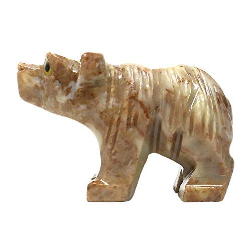 Nelson Creations, LLC Bear Natural Soapstone Hand-Carved Animal Charm Totem Stone Carving Figurine, 1.5 Inch