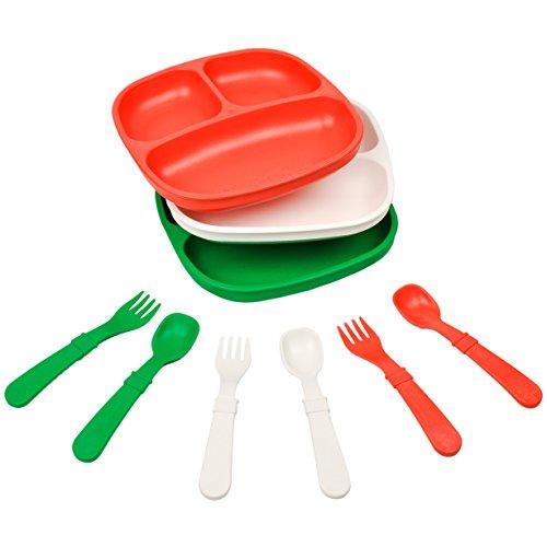 Re-Play Made in The USA Dinnerware Set - 3pk Divided Plates with Matching Utensils Set (Christmas/Holiday/Santa/Italian) (Kids Dinnerware Christmas)