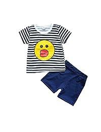 DKmagic Boy Girls Digital Tops Children Suit T-Shirt Striped Shorts Children Suit