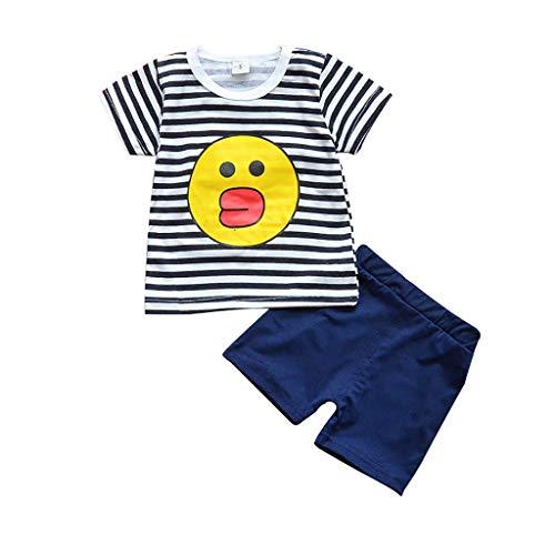 (Toddler Kids Summer Cartoon Suits 2PCS Set YESOT Baby Boys Girls Girls Digital Tops Shorts Set Stripe Cartoon Causal Clothes (Black, 18-24 Mouths))