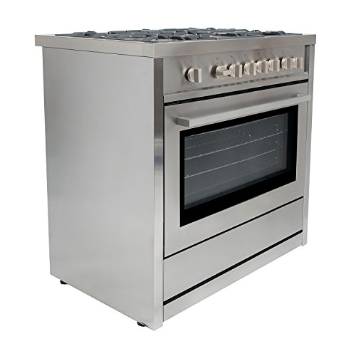 36 in. Gas Range with 5 Italian Made Burners, Oven, Broiler, Motorized Rotisserie, Lower Storage...