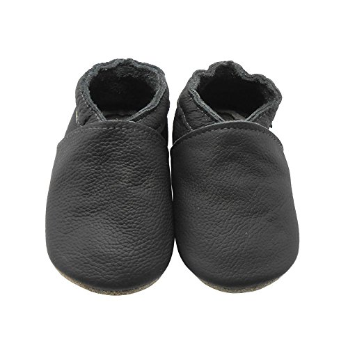 Sayoyo Lowest Best Baby Soft Sole Prewalkers Skid-resistant Baby Toddler Shoes Cowhide Shoes (6-12 months, Dark grey) Soft Sole Crib Shoes