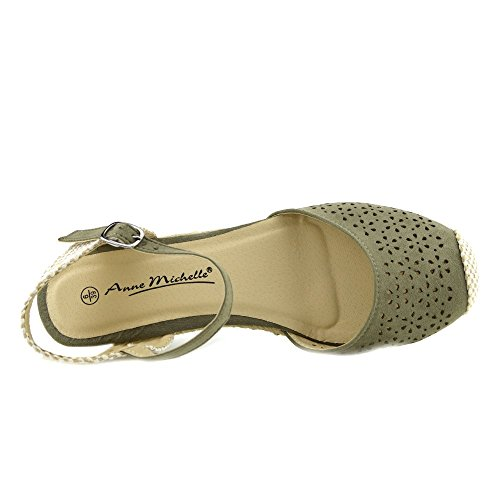 Kick Footwear Womens Black Wedge Heels Comfortable Slingback Summer Sandals Khaki uQMz49i9cV