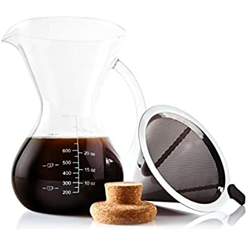 83bcd086a89 Apace Living Pour Over Coffee Maker Set w Coffee Scoop and Cork Lid -  Elegant Coffee Dripper Pot w Glass Carafe   Permanent Stainless Steel  Filter (800 ml ...